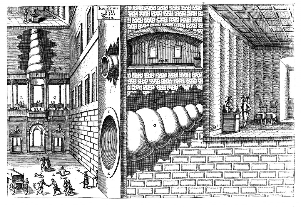 Athanasius Kircher- Speaking tubes connected to statues, from Musurgia universalis, vol. 2, p. 303. (1993)